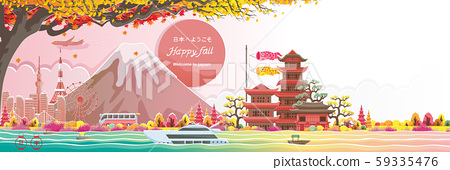 Autumn seson in japan. Happy fall. Japan style building. Translation: Welcome to Japan.  Posters or postcards for tourism. Vector illustration paper cut style stickers. 59335476