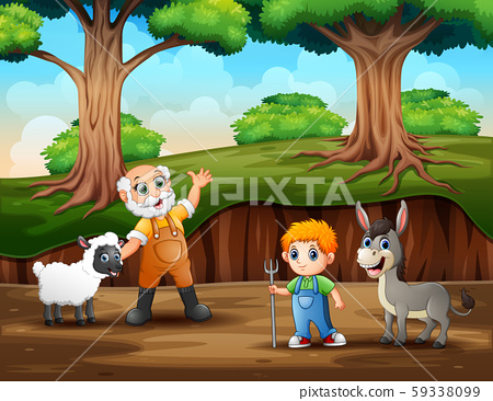 The farmer with his animal on the forest landscape 59338099