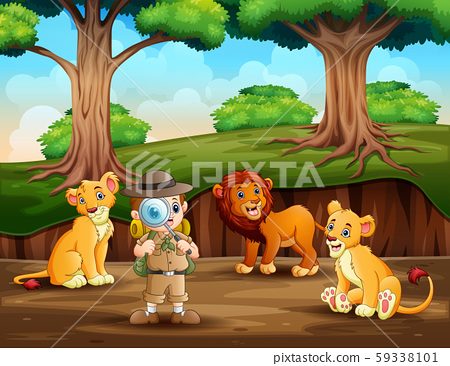 The explorer with lions on the forest 59338101