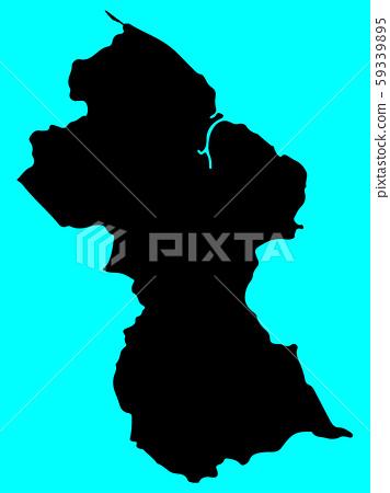 Guyana map silhouette vector illustration eps 10 59339895