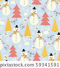 Snowman seamless vector pattern with cute snowmen, trees, bunny, bird, forest. Winter holidays 59341591