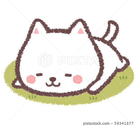 White cat napping-lawn 59341877