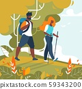 Man and Woman Couple Tourists Trekking and Hiking 59343200