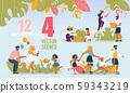 Happy Family People, Summer Activities Scenes Set 59343219