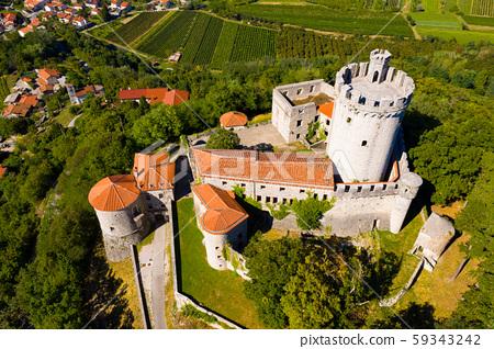 View of medieval castle Branik (Rihemberk) in Nova Gorica. Slovenia 59343242