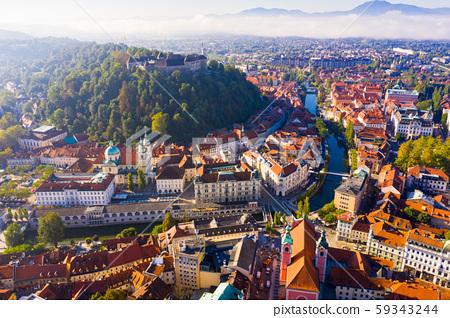 Panorama of the Slovenian capital Ljubljana in morning 59343244
