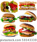 Collection of burgers, sandwiches and toasts on white 59343339