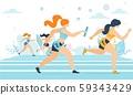 Cartoon Women Taking Part in Running Marathon 59343429