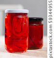 Canned red bell pepper in jar 59344955