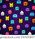 Vector Illustration seamless 8bit pixel monsters pattern. Retro game monster texture. 59345807