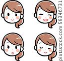 Female facial expression set 59346731