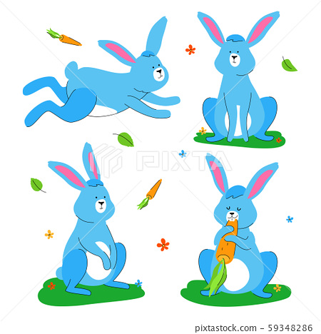 Cute rabbit - flat design style set of characters 59348286