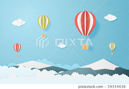Love to travel concept. Origami made hot air 59354036