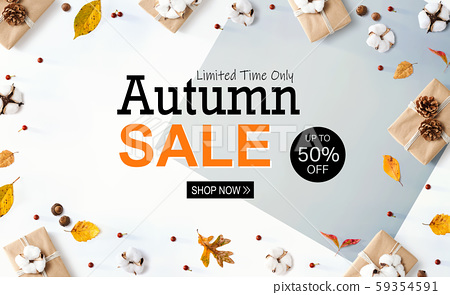 Autumn sale banner with gift boxes with leaves 59354591