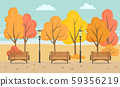 Bench and Trees, Autumn Season in Park Vector 59356219