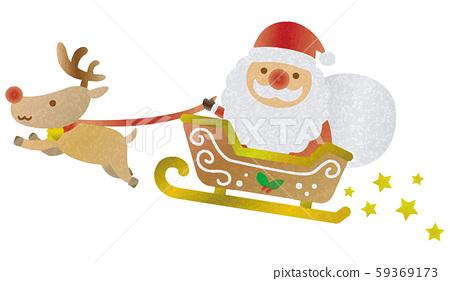 聖誕老人和馴鹿圖(水彩風格) 59369173