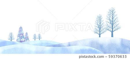 夢幻般的冬天平原圖像水彩痕跡矢量 59370633