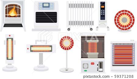家電加熱圖標集冬季材料矢量圖 59371208