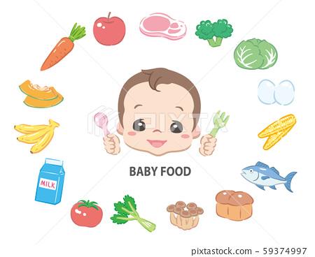 嬰兒吃嬰兒食品。與成分。 59374997