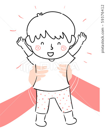 Kid Boy Doodle Parent Hands Lift Up Illustration 59376412