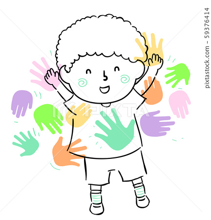 Kid Boy Doodle Meet Peers Friends Illustration 59376414
