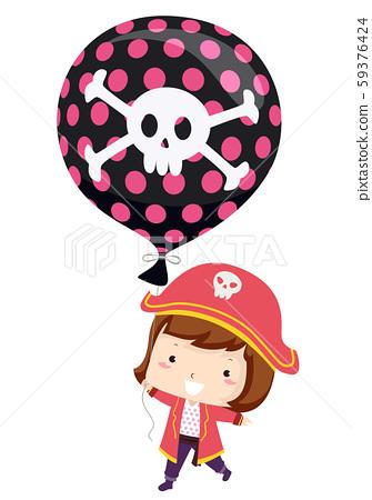 Kid Girl Pirate Balloon Illustration 59376424