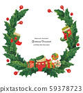 Christmas holly wreath with stocking and gift 59378723