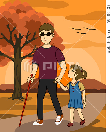 Vector illustration of Blind man and his daughter are walking together in a park at sunset. His daughter take care and guide him. Both look happy. It's a lovely family image. 59380303