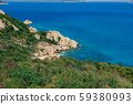 Seascape with wonderful cliff view and colorful clean sea water on the Binh Ba island, Vietnam. Royalty high quality free stock image of seascape. 59380993