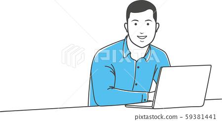 Positive manager gesturing outline illustration 59381441