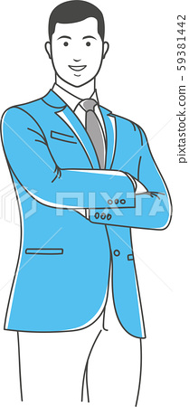 Positive manager gesturing outline illustration 59381442