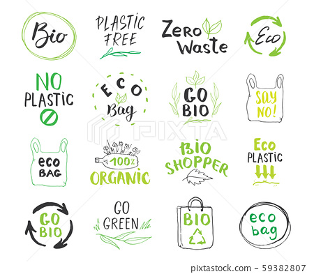 Eco and Bio Hand Drawn labels Set. Calligraphic Letterings with eco friendly sketch doodle elements. Vector illustration. 59382807