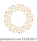 Christmas wreath Round Frames set hand drawn doodles. Vector illustration. 59382817