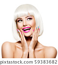 Fun happy face of a pretty woman  with white hairs 59383682