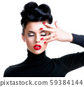 Woman with professional fashion make-up and 59384144