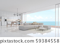 Luxury white living dining room with sea view 3d render 59384558