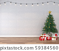 Empty room decorated with christmas tree 3d render 59384560