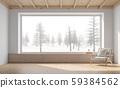 Empty room with snow scene background 3d render 59384562