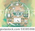 Promotional illustration for poster about illustrators and their workspace. 59385006