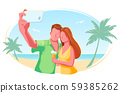 Beach couple selfie flat vector isolated illustration. Holiday, vacation, honeymoon, tourism concept 59385262