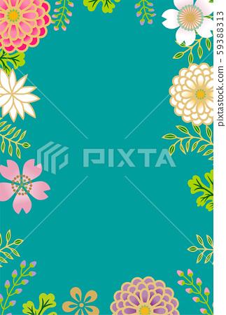日本花卉背景藍綠色 59388313