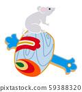 灰鼠騎木槌-新年賀卡材料 59388320