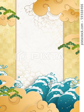 종이의 감촉을 느낄 일본 화 - 설 - 구름 - 금 - 새해 59388466
