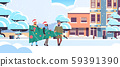 people carrying fir tree preparing for merry christmas happy new year holiday celebration concept 59391390