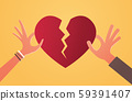 woman man hands holding pieces of broken heart depression life crisis break up divorce betrayal 59391407