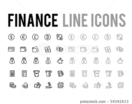 Finance and payment method vector line icon set 59392613