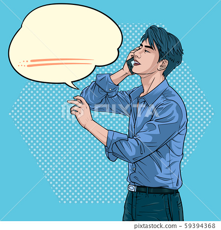 A man who is talking on a mobile phone Businessmen Illustration vector On pop art comics style Abstract dot colorful background 59394368