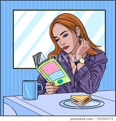 A beautiful woman sitting reading a book in the room at home Morning coffee and bread Illustration vector On pop art comic style Colorful window background 59394371