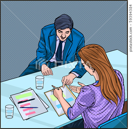 Business people express opinions at the meeting at the company Listening and Speaking Illustration vector On pop art comics style Abstract dot background 59394384