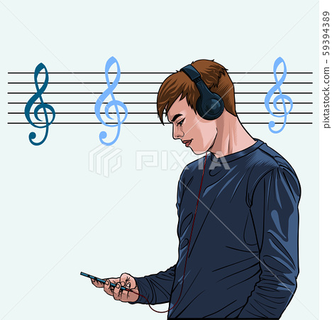 Men listen to music from headphones with mobile phones The joy of music Illustration vector On pop art comics style Abstract dot background 59394389